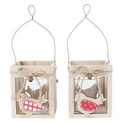 Small Image of Set of 2 Wooden Bird Hanging Tealight Candle Holders