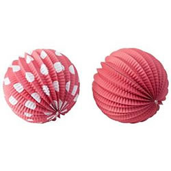 Small Image of Set of 6 Red & White 18cm Sphere Paper Lanterns