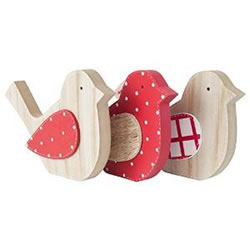 Small Image of Set of 3 Large Free-standing Red & White Wooden Bird Ornaments