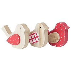 Small Image of Set of 3 Small Free-standing Red & White Wooden Bird Ornaments