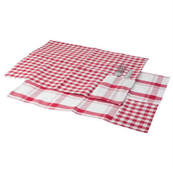 Small Image of 6 x Red & White Gingham & Checked Dining Placemats