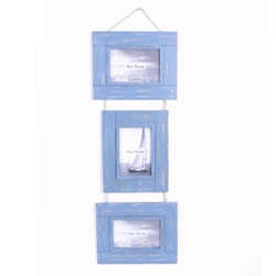 Small Image of Triple Rustic Blue Wooden Photoframe on Jute String Hanger