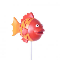 Small Image of Bright Orange Resin Fish on a Stake Garden Ornament