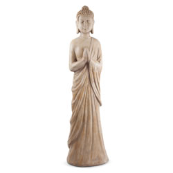 Small Image of Large Carved Wood Effect 100cm Standing Buddha Statue Ornament