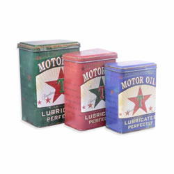 Small Image of Set of Three Vintage Look Texaco Motor Oil Storage Tins