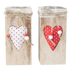Small Image of Set of 2 15cm Rustic Wood & Plush Heart Tealight Holders