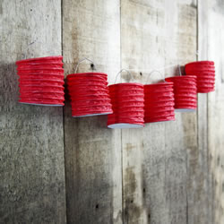 Small Image of Set of 6 Red Paper Lanterns with LED Tealight Candles