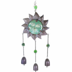 Small Image of Hanging Metal & Ceramic Sun Face Garden Wind Chime