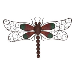 Small Image of Decorative Rusty Look Metal Dragonfly Garden Wall Art Feature