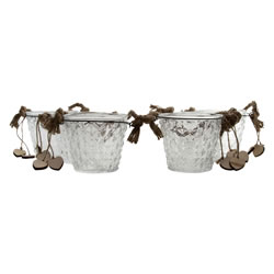 Small Image of Set of 6 Clear Glass Bucket Tealight Candle Holders