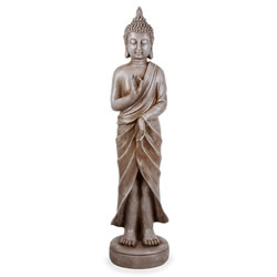 Small Image of Large Stone Look Effect Standing Resin Buddha Ornament