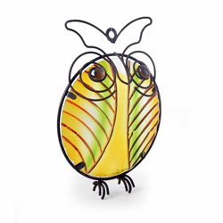 Small Image of Metal Owl Wall Art with Stained Glass Centre - Design A
