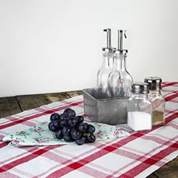 Small Image of Red & White Checked Gingham 140cm Table Runner (White)