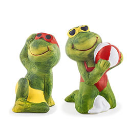 Small Image of Set of 2 Sunshine Loving Terracotta Frog Garden Ornament Figurines