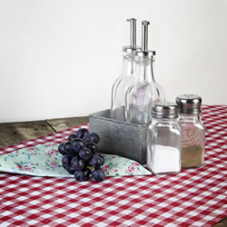 Small Image of Red & White Checked Gingham 140cm Table Runner (Red)