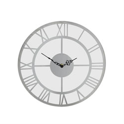 Small Image of 35cm Round Glass Wall Clock with Mirror Silver Roman Numerals