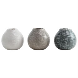 Small Image of Set of 3 Glazed Ceramic 11cm Sea Urchin Vases
