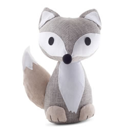 Small Image of Grey Fabric Fox Doorstop Home Accessory