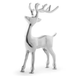 Small Image of 19cm Standing Silver Aluminium Stag Christmas Ornament