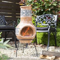 Small Image of Oxford Barbecues Terracotta Clay Chiminea Patio Heater