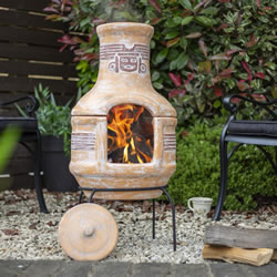 Extra image of Oxford Barbecues Inca Clay BBQ Chiminea Patio Heater + Grill