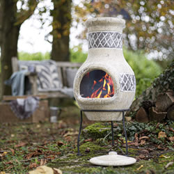 Small Image of Oxford Barbecues Radley Cream With Grey Detail Clay Chiminea Patio Heater