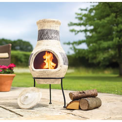 Extra image of Oxford Barbecues Radley Cream With Grey Detail Clay Chiminea Patio Heater