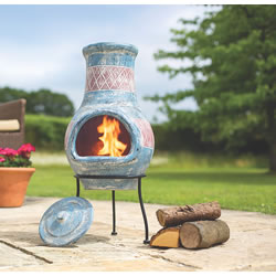 Small Image of Oxford Barbecues Elsfield Blue With Red Detail Clay Chiminea Patio Heater