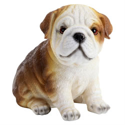 Small Image of Realistic Polyresin 16cm Sitting Bulldog Puppy Dog Ornament