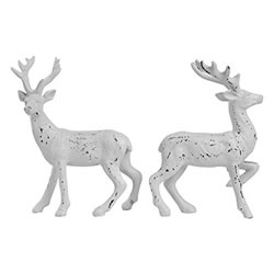 Small Image of 2 Standing 14cm Distressed White Glitter Polyresin Stag / Reindeer Christmas Ornaments