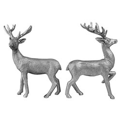 Small Image of Set of 2 Standing 20cm Silver Polyresin Stag / Reindeer Christmas Ornaments