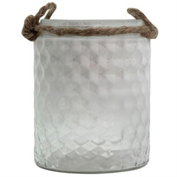 Small Image of Half-White Frosted Textured Glass & Jute Tealight Candle Holder or Vase