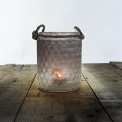 Small Image of Set of 2 Half-White Frosted Textured Glass & Jute Tealight Candle Holders or Vases