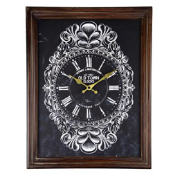 Small Image of Antique Effect 45cm Wooden Framed Wall Clock for the Home