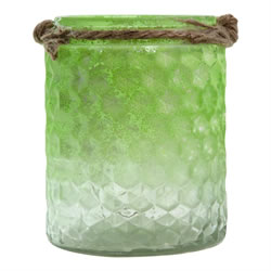 Small Image of Half-Green Frosted Textured Glass & Jute Tealight Candle Holder or Vase