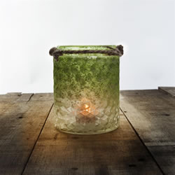 Small Image of Set of 3 Half-Green Frosted Textured Glass & Jute Tealight Candle Holders or Vases