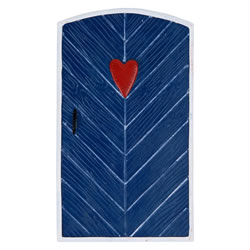 Small Image of Large Blue Fairy Door Ornament with Heart Design for Garden or Home