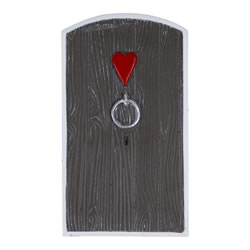 Small Image of Large Garden Fairy Door Ornament Grey Finish with Heart Design