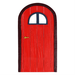 Small Image of Large Red Wood Effect Garden Fairy Door Ornament