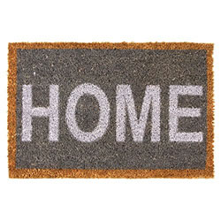 Small Image of 60 x 40cm Grey & White 'HOME' Coir Doormat for Garden or Home