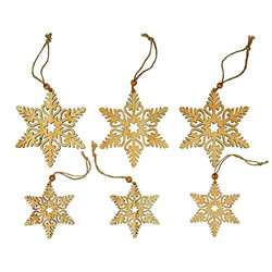 Small Image of 6pc Set of 8 & 11cm Rustic Wooden Snowflake Christmas Tree Decorations