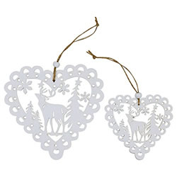 Small Image of Set of 4 White Wooden Cut-out Scandi Heart Christmas Tree Decorations
