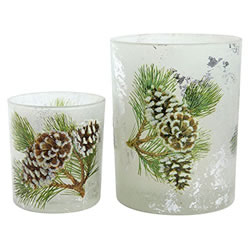 Small Image of Set of 2 Glittery Pine Cone Glass Christmas Tea Light Candle Holders