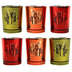 Small Image of Set of 6 Autumnal Red, Orange & Yellow Glass Tea Light Candle Holders