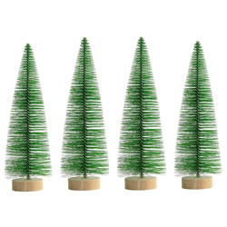 Small Image of 4 x 25cm Green Plastic Bottle Brush Bristle Christmas Tree Ornaments