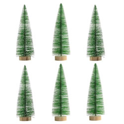 Small Image of 6 x 25cm Green Plastic Bottle Brush Bristle Christmas Tree Ornaments
