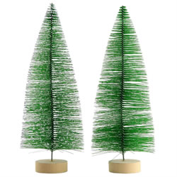 Small Image of 2 x 30cm Green Plastic Bottle Brush Bristle Christmas Tree Ornaments