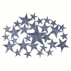 Small Image of 'Americano' Distressed Grey Metal Star Wall Art