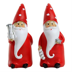 Small Image of Set of 2 12cm Polyresin Father Christmas Gnome Ornaments