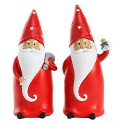 Small Image of Set of 2 20cm Polyresin Father Christmas Gnome Ornaments